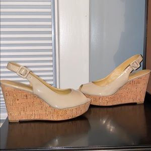 Nine west nude wedge heels